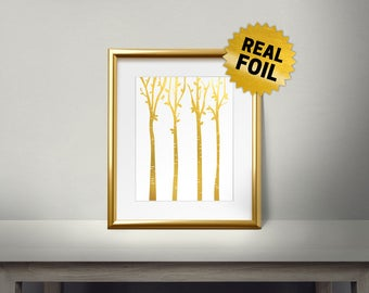 Forest wall art, Tree Trunk, Real Gold Foil Print, Home Decor, Foil Art, Gold Wall Art, Living Room wall decor, Winter, Fall, Autumn