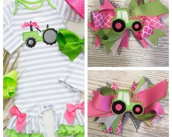Made to match RicRac and Ruffles Big Green Tractor hair bow, Ricrac hair bow, M2M Ricrac, Tractor hair bow, pink tractor hair bow