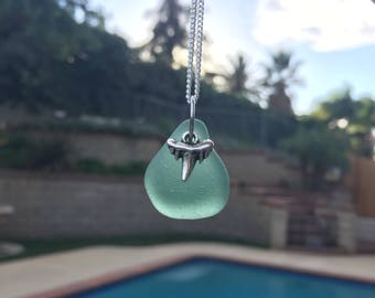 Sea Glass Shark Tooth Charm Necklace