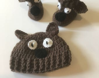 Baby Bear Hat and Booties Set Crochet, Gift Set