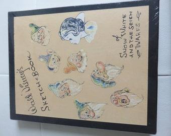 Vintage Walt Disney Snow white Seven Dwarfs Sketch book Still in original wrap!