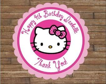 Personalized Hello Kitty Stickers - Hello Kitty Favor Tags - Hello Kitty Birthday