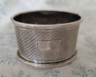 Engine Turned Silver Napkin Ring Birmingham 1932