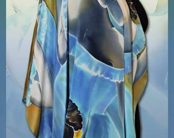 Silk scarf shawl Degas - Blue dancers, Handmade, Scarves for women, Colourful Handpainted scarf, Silk Wrap, Rare Unique Gift