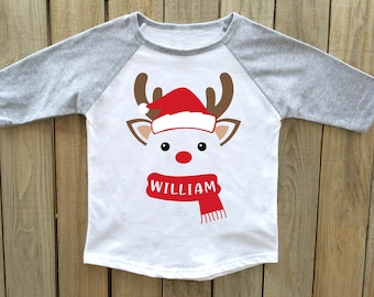 christmas shirt, boys christmas shirt, reindeer christmas shirt, personalized Christmas shirt, christmas shirts boys christmas shirts
