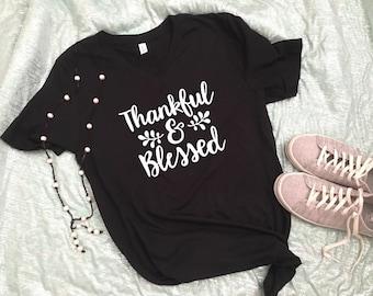 THANKFUL SHIRT, Thanksgiving Shirt, Thanksgiving outfit, Fall Shirt, gift for mom, Blessed Shirt, Mom life shirt, Women's Fall shirt