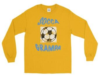 Soccer Socca Grampa Distressed All Jersey Knit Tee Shirt Long Sleeve T-Shirt
