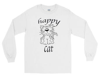 Happy Cat unisex distressed Spartees Long Sleeve T-Shirt
