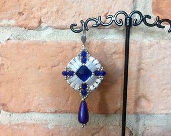 Blue beaded earrings made Tila