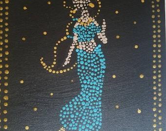 Princess Jasmine and Magic Lamps - Aladdin - 10x14 Acrylic painting - dots - pointillism