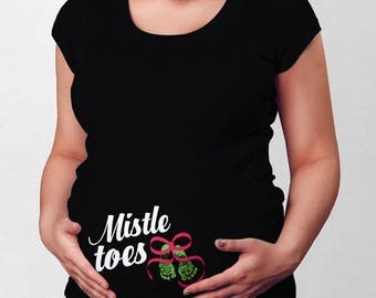 Christmas Pregnancy Announcement Maternity T Shirt Expectant Mothers Pregnant Clothes Christmas TShirt Xmas Outfit Holiday Gift TEP-416