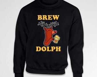 Funny Xmas Gifts For Christmas Hoodie Rudolph Sweater Beer Drinker Holiday Outfits Reindeer Sweatshirt Christmas Humor Beer Lover TEP-576