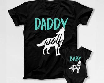 Father And Baby Father And Son Matching Shirts Father And Daughter Matching Family Shirts Family Outfits Daddy Wolf Baby Wolf TEP-192-194