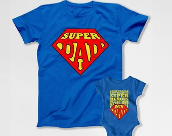 Father Daughter Matching T Shirts Dad And Baby Gift Daddy Son Shirts Father's Day Gifts For New Daddy TShirt Super Dad Gift Idea TEP-259-260