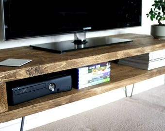 KRUD~TV Stand with Hairpin Legs~Handmade~Solid Wood~Scaffold Style~24 Colours~Industrial~Chunky~Rustic~Country~TV Stand~Cabinet