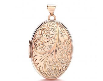 9ct Rose Gold Oval Shaped Locket With Scroll Embossed Design