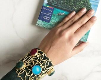 Statement Cuff Bracelet, Gold Plated Cuff, Druzy Bracelet, Hammered Brass Bracelet, Jade Druzy Agate Stone Bracelet, Adjustable Bracelet