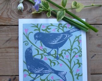 Love Birds greetings card from an original lino print