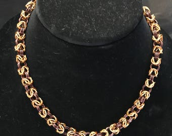 Fall Colors, Byzantine Weave Necklace