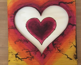 Wood art burned and painted heart