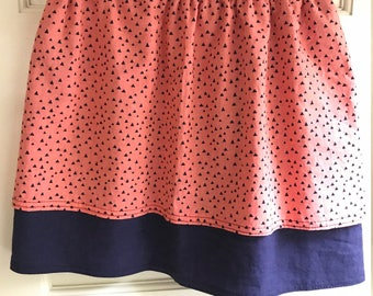Little girl's twirl skirt - pink with triangles