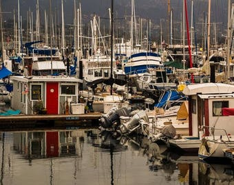 Color Photograph of a Marina in Santa Barbara California with boats for download