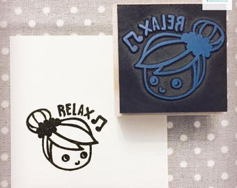 Hand Carved Relaxed Girl Rubber Stamp