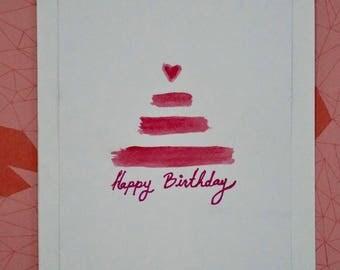 Happy Birthday card, handpainted card, love card