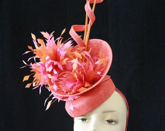 Pink and Orange Fascinator