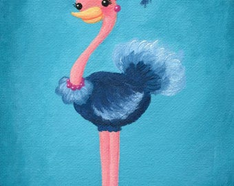 Fancy Ostrich 5x7 Acrylic Painting