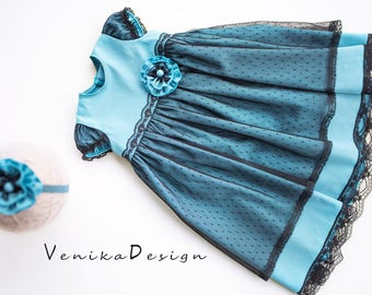 beautiful baby dress for the carnival in blue and black