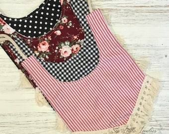 Darling Fringe Baby Bibs/Gingham/Ticking Stripe/Floral/Polka Dot/One Size