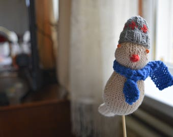 NEW!!! Hand made knitted bird with cap & scarf