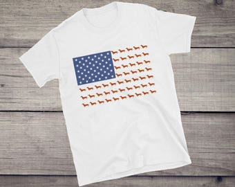 Dachshund Short-Sleeve Unisex T-Shirt USA flag funny wiener dachshund tshirt creative dachshund gift for her, gift for him, sausage dog
