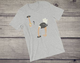 Funny Ostrich T-Shirt men's women's funny ostrich head under sand comic graphic tee tshirt tee Short-Sleeve Unisex T-Shirt