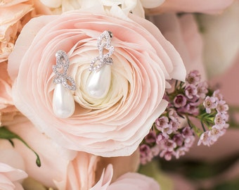 Rose Pearl Cubic Zircona Earrings, Pearl Wedding Earrings, Bridal Jewelry, Bride Pearl Earrings, CZ Pave Pearl Wedding Earrings, Dainty