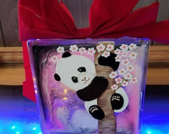 Hand Painted Panda Bear Glass Block with Lights /with epoxy pour