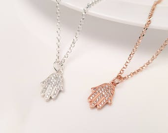 Tiny Silver or Rose Gold Necklace, Hamsa Necklace, Hamsa Hand Necklace, Tiny Necklace, Luck Necklace, Hamsa Necklace, Simple Necklace G.P.