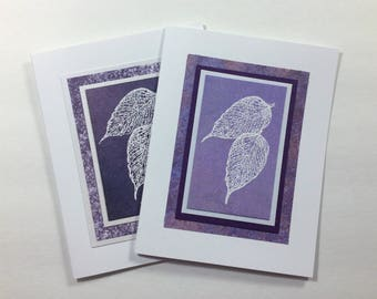 Falling leaves on purple embossed blank cards (set of 2), individually made: A2, notecards, fine cards, SKU BLA21043