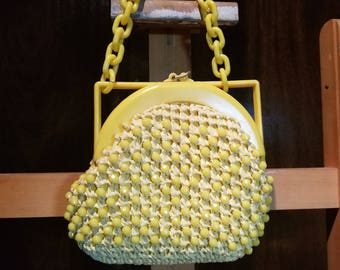 1960s Le Jule Italy Yellow Beaded Purse
