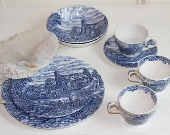 Blue and White Dishes Vintage Antique England 8 pieces