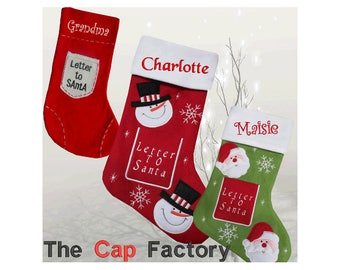 Personalised Embroidered Christmas Stocking Luxury Santa Snowman Traditional Letter to Santa Name Gift