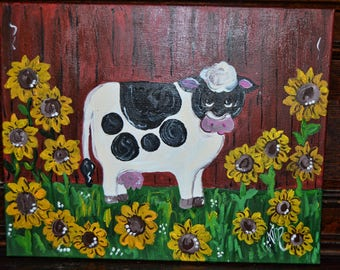 Whimsical cow painting on canvas