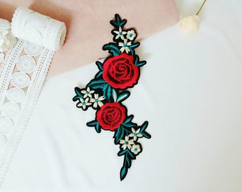 large rose patch/flower /iron on /sew on /diy/embroidered /applique /for jacket