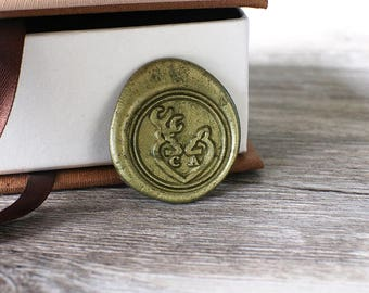 Custom two initials with deer wax stamp kit, Personalized heart deer wedding wax seal, wedding gift,party wax seal stamp set