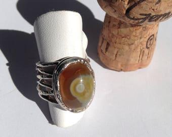 Eye Agate sterling silver ring