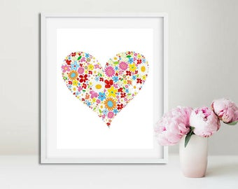 Printable art, Lovely Floral Heart, Wall Art, Living Room Decor, Dorm Room, Bedroom Decor