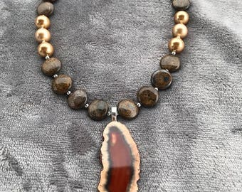 Necklace of Jasper, Swarovski beads with Agate Drop
