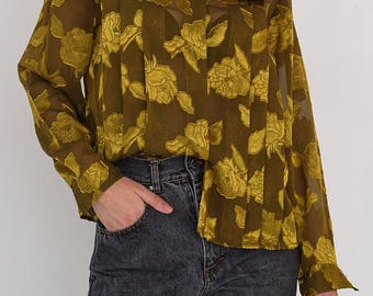 VINTAGE Gold Floral See Through Long Sleeve Retro Shirt