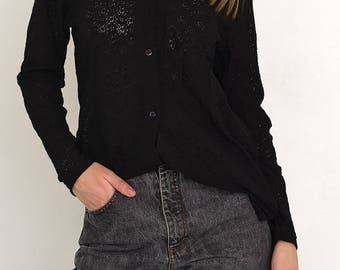 VINTAGE Black See Through Long Sleeve Retro Shirt